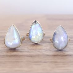Moonstone Rain Drop Ring | Bohemian Gypsy Jewelry | Boho Festival Jewellery | Hippie Style Fashion| Indie and Harper
