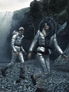 Space landing: Lucky and Pyper model silver padded jackets and trousers form the Moncler collection