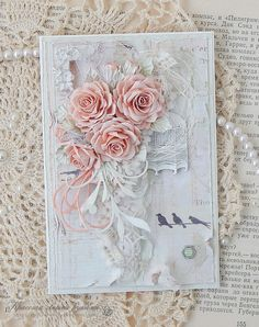 "Chest of inspiration: The best works of the first phase of the joint venture ""Ladies things"" / Season 2 Shabby Chic Karten, Shabby Chic Cards, Pretty Cards, Cute Cards, Mixed Media Cards, Beautiful Handmade Cards, Heartfelt Creations, Card Maker, Card Tags"