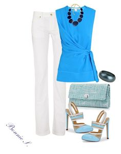"""""""shades of blue with white"""" by bonnaroosky ❤ liked on Polyvore featuring Just Cavalli, Tiffany & Co., Diane Von Furstenberg, Versus, Kenneth Jay Lane, Breil Milano, statement necklaces, jeans, spring and day"""