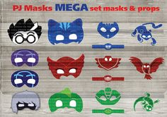 **INSTANT DOWNLOAD*** Water mark will be remove *********************************************************************** This is a digital product, no physical product will be sent. You can print as many times as you want ***********************************************************************  ---------------You will receive:--------------- 7 masks (Owlette - Gekko -Catboy - Luna - Romeo - 2 Night Ninja) 3 PJ masks sign sign 3 PJ masks logo logo 3 PJ masks bracelets (2 sizes- big and small)…