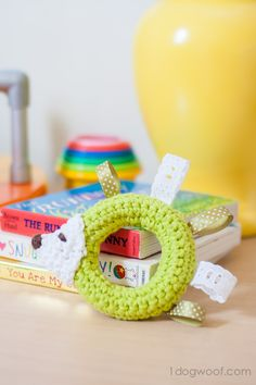 Hedgehog Taggie Baby Toy Crochet Pattern - Be the talk of the baby shower with this gift! | www.1dogwoof.com