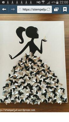 Kleid aus Schmetterlingen Frau Maedchen mit Zopf Leinwand Bild stempeljuli (Cool… Dress made of butterflies woman girl with braid canvas picture stempeljuli (Cool Crafts) Fun Crafts, Diy And Crafts, Crafts For Kids, Arts And Crafts, Paper Crafts, Paper Butterfly Crafts, Recycled Crafts, Art Mural Papillon, Butterfly Wall Art