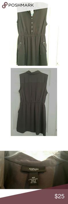 NWT Sleeveless Alfani Dress Women's 16p green nwt sleeveless Alfani Dress.  Made of 100% polyester. Shoulders 16in, bust 20in, length 33.5in. Has 2 front pockets. Alfani Dresses