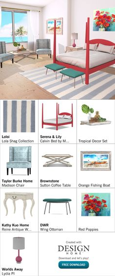 Created with Design Home! Coffee Table Orange, Tropical Decor, Red Poppies, Fishing Boats, Ottoman, Kids Rugs, House Design, Chair, Antiques