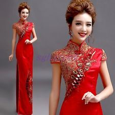 2016 Red Retro Chinese Cheongsam Florals Wedding Long Dress Ball Gown Embroidery