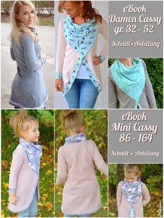 Kombi Ebook, hier erhältst du die Damen Cassy und die Mini Cassy zum Vorzugspreis.  Cassy ist ein Cardigan Schnitt der perfekt für den Frühling und kühle Sommertage geeignet ist.  Durch das Tuch...