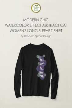 Modern Chic Watercolor Effect Abstract Cat T-Shirts for Women - Black | Custom Women's Long Sleeved T-Shirt | Cat Long Sleeve T-shirt | By Wind-Up Sprout Design @Zazzle #catlovers #tshirts #longsleeved #tshirtsforwomen #cat #tshirtsdesign #black #tshirt #womenscasualfashion