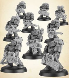 Devastator Legionnaires armed with the following: Multi-Meltas, Plasma Cannon, Heavy Bolter, Auto-Cannon, Missile Launcher, Las-Cannon and Vulkite Culverin