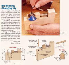 Router Bit Bearing Changing Jig - Router Tips, Jigs and Fixtures   WoodArchivist.com