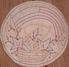 Primitive Stitchery Candle Mat PATTERN Basket by thetalkingcrow