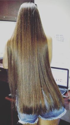 Long straight hair. Soft Brunette Brown. Sleek, silky and healthy hair. Irresistibly gorgeous.