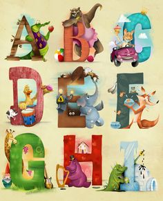 A-I Letter Card Illustrations