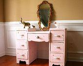Pink Vintage Vanity Desk. Bohemian Chic. Boudoir Closet. Shabby Chic. Boho. Girls Bedroom. Girls Pastel Summer Pink. Cottage. Vestiesteam.