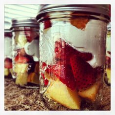 Mason jar strawberry shortcake