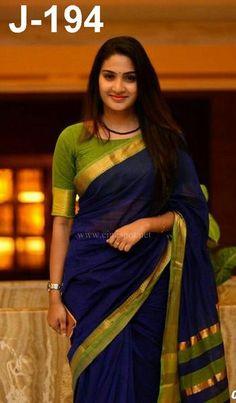The Largest Online Indian ethnic wear store for women - Sarees, Salwar Suits. Kerala Saree Blouse Designs, Half Saree Designs, Fancy Blouse Designs, Saree Blouse Patterns, Cotton Saree Blouse Designs, Saree Models, Stylish Sarees, Saree Look, Elegant Saree