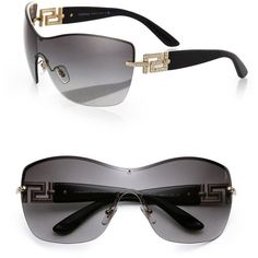 Versace Rimless 138MM Shield Sunglasses ($295) ❤ liked on Polyvore featuring accessories, eyewear, sunglasses, apparel & accessories, grey, rimless glasses, shield sunglasses, metal sunglasses, versace sunglasses and oversized glasses