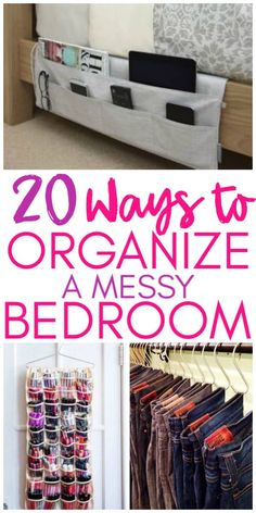 20 Ways to organize a messy bedroom! Clean your bedroom and get it organized with these easy organizing tips! home diy organizations 20 Amazing Organization Hacks That Will Transform Your Bedroom - Organization Obsessed Organisation Hacks, Organizing Hacks, Organizing Your Home, Diy Organization, Organization Ideas For The Home, Cleaning Hacks, Organising, Bedroom Cleaning Tips, Dresser Top Organization
