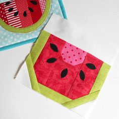 """What started as an ordinary thought (""""I fancy fruit for breakfast"""") led to a new block design: From this one little watermelon block s..."""