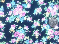 Black Floral Cotton Fabric £2.50