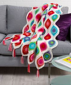 Retro Ornament Throw Free Crochet Pattern LW4869