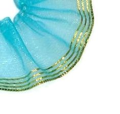 DestashSheer Turquoise / Gold Ribbon 1 1/2 X by ThisandThatCrafter, $3.00