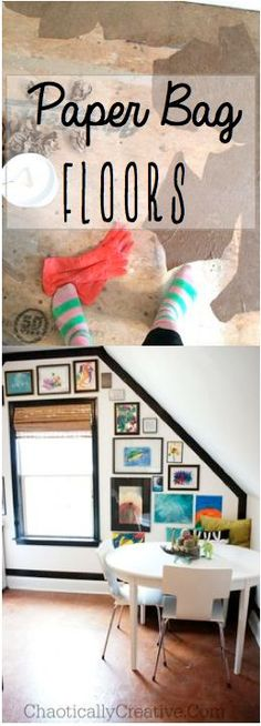 Such a cool idea... Paper Bag Flooring    www.chaoticallycreative.com #flooring #diy #tutorial (I've seen paper bags used to decorate walls, and they look amazingly like leather. Bet this would indeed work great for floors).