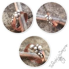 Silver Pebbles on Copper ring 6.75 by ThePurpleLilyDesigns on Etsy