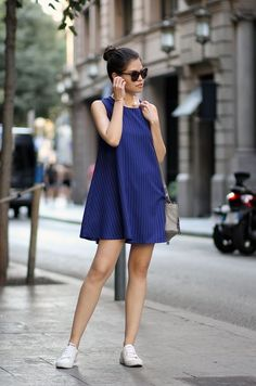 White Sneakers And Baby Doll Dress 2017 Street Style