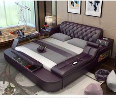 Genuine Leather Bed Frame Soft Beds Massager Storage Safe Speaker LED Light Bedr for sale online