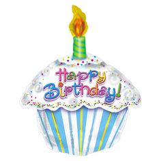 Birthday Cupcake Mylar Balloon,