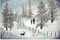 Winter Walk Rubber Stamped Scene  #RubberStampedScene