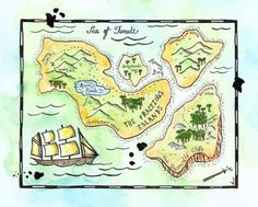 """Treasure Map - The Fractious Islands Map Original 8"""" x 10"""" Watercolor / Pirate Cartography @HTTP://www.etsy.com/shop/paintandink"""