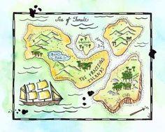 "Treasure Map - The Fractious Islands Map Original 8"" x 10"" Watercolor / Pirate Cartography @Gail Regan Truax://www.etsy.com/shop/paintandink"