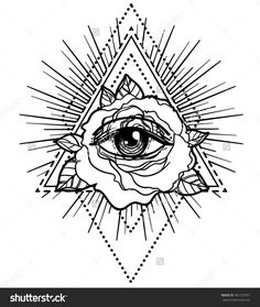 All seeing eye pyramid symbol with rose flower. Sacred geometry. Tattoo flash. vector