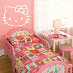 LARGE HELLO KITTY CHILDRENS KIDS BEDROOM WALL MURAL STICKER TRANSFER VINYL DECAL | eBay