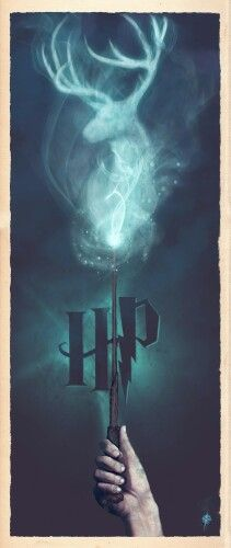 """Harry Potter Harry Potter alternative poster by Ajay Naran - """"Harry Potter Expecto Patronum"""" by Ajay Naran: A part a series of Harry Potter 'wand' prints I'm producing, this one displays Harry casting a Patronus charm. Art Harry Potter, Mundo Harry Potter, Images Harry Potter, Harry Potter Universal, Harry Potter Fandom, Harry Potter Poster, James Potter, Harry Potter Expecto Patronum, Expecto Patronum Tattoo"""
