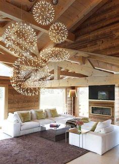Love those ceiling ball lights #cool lighting fixture #living room #home decor