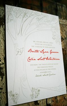Wedding Invitation Personalized Carved Tree by jackandjillwedding, $6.00