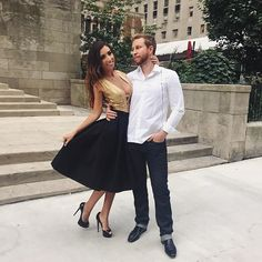 Romance in New York City, fashion, dress up, prom, ball, NYC, Love, couple, happy smile, black skirt, Dior, Herve Leger, Tom Ford, heels, brunette Ombre hair
