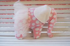 Hand-sewn stuffed elephant toy with adorable tutu