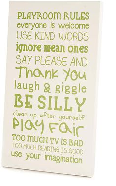 Green & White 'Playroom Rules' Wall Art #friendly#design#sporting