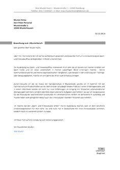 Bewerbung Reinigungskraft Raumpflegerin Bewerbungsschreiben