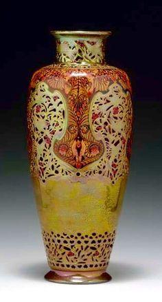 Zsolnay váza  -   Потрясающая ваза в стиле модерн Жольнай Эосин Глазурь Коралловый Омар Дизайн 1900