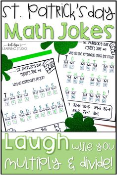 These St Patricks Day math printables for 3rd and 4th grade give upper elementary school students practice solving basic multiplication and division problems. Third and fourth graders will love the funny jokes and humor as they solve the facts. You get 5 adding and 5 subtracting printable worksheets with an answer key for each. Ideas for classroom use include a centers activity, homework, and early finishers. Fun St. Patrick's Day spring holiday activities for homeschool kids or teaching…