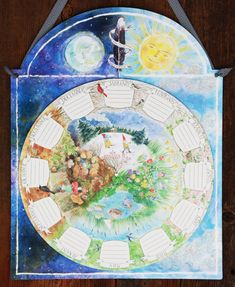 A child's calendar Wall mounted, spins to show progression of months/seasons in a circular fashion. Enchanting art!