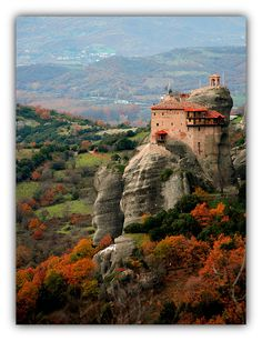 Meteora Thessaly Greece In Autumn Prayers Are Perched On High Cliffs Through The Eyes Of G_panakia