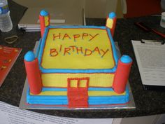 Bouncy House Cake but try using ice cream cones for the pillars