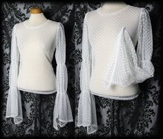 Gothic Cream Sheer Lace PRETENTIOUS Drape Sleeve Blouse Top 10 12 Dramatic