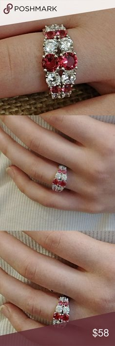 🔥Hot Price🔥 Lab Grown Ruby & White Topaz Ring Lab grown Ruby/Topaz and White Topaz stones set in solid sterling silver. Very eye catching and elegant. Size 7 Jewelry Rings